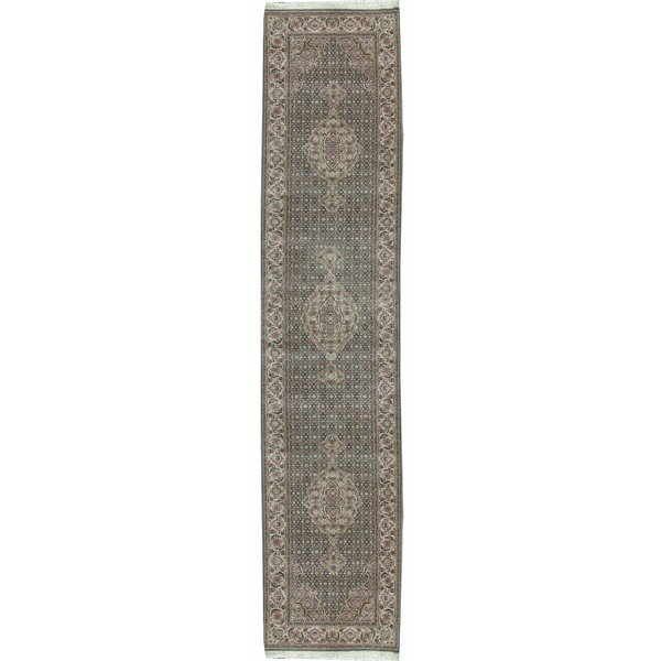 Hand Knotted Wool Light Green/Cream Rug