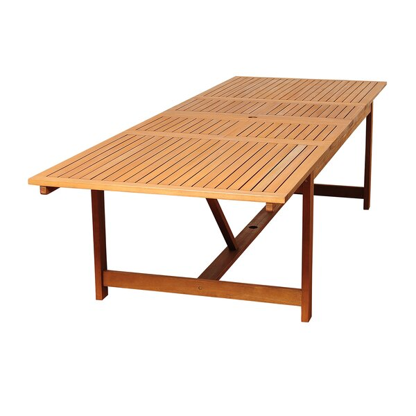 Bridgepointe Extendable Eucalyptus Wood Dining Table by Rosecliff Heights