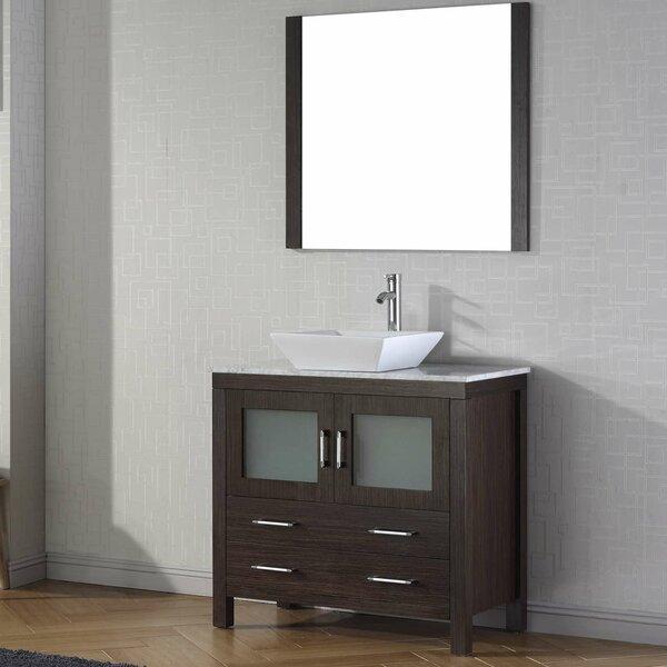 Cartagena 36 Single Bathroom Vanity Set with White Marble Top and Mirror by Mercury RowCartagena 36 Single Bathroom Vanity Set with White Marble Top and Mirror by Mercury Row