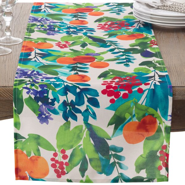 Orchard Fruit Art Watercolor Pattern Table Runner by Saro