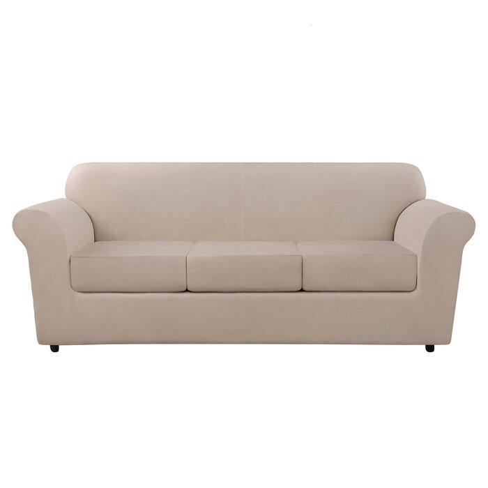 Ultimate Heavyweight Stretch Leather 4 Piece Box Cushion Sofa Slipcover Set