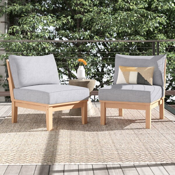 Anthony Outdoor Teak Patio Chair with Cushions (Set of 2) by Foundstone