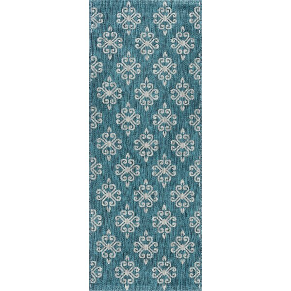 Bella Transitional Teal Indoor/Outdoor Area Rug by Charlton Home