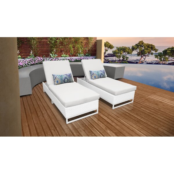 Miami Reclining Sun Lounger Set with Cushion (Set of 2) by TK Classics