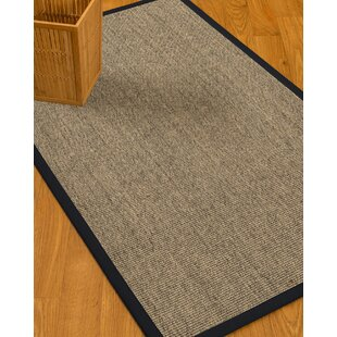 Affordable Mahan Border Hand-Woven Gray/Midnight Blue Area Rug By Gracie Oaks