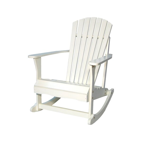Hinman Porch Solid Wood Rocking Adirondack Chair by Highland Dunes