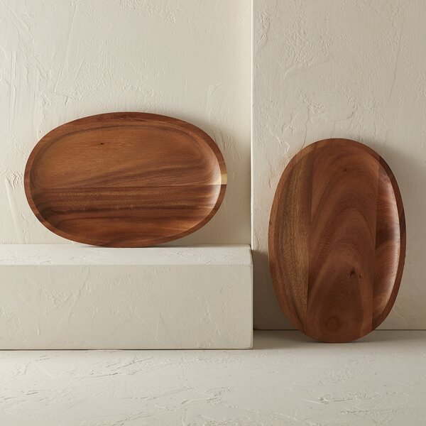 Handcrafted Medium Oval Serving Tray (Set of 2) by Mint Pantry