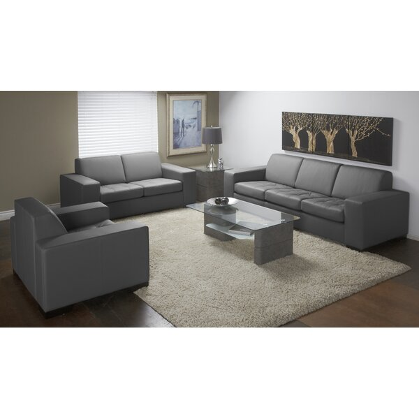 Wenlock 3 Piece Leather Living Room Set by Orren Ellis