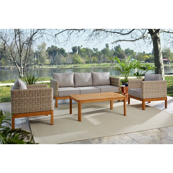 Nanette 4 Piece Rattan Sofa Seating Group with Cushions by Greyleigh