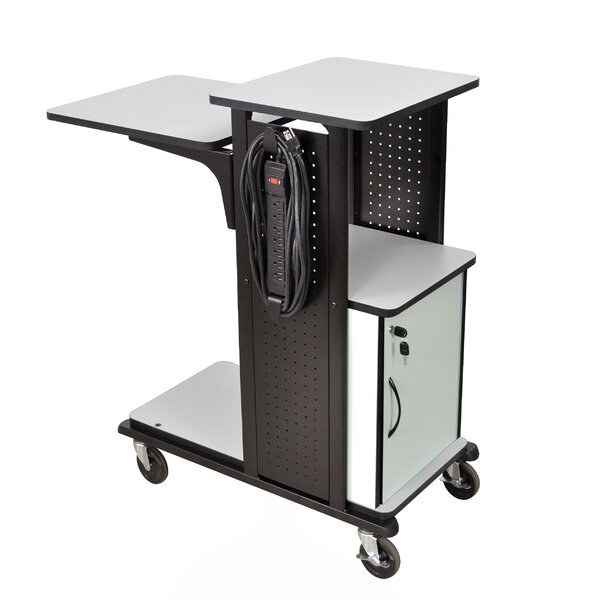 4-Shelf Presentation Station AV Cart with Security Cabinet by H. Wilson Company
