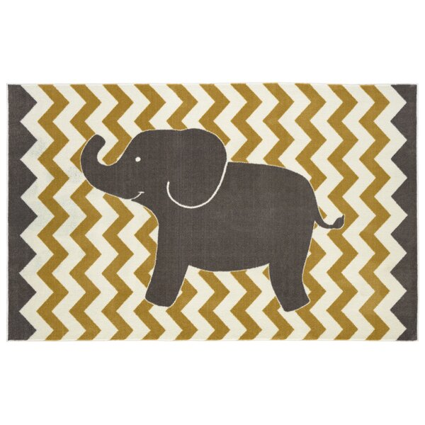 Brynn Lucky Elephant Yellow Kids Rug by Viv + Rae