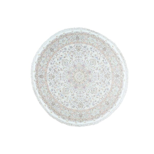 One-of-a-Kind Hotaling Hand-Knotted Ivory 10'1 Round Silk Area Rug