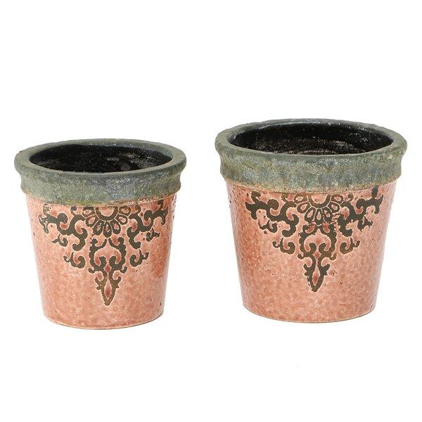 Wick, Somerset Clay Ceramic Filigree Garden 2-Piece Pot Planter Set by Ophelia & Co.