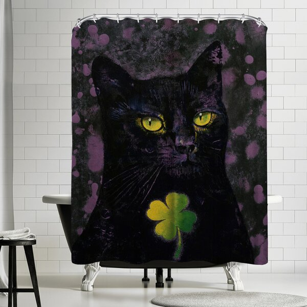 Michael Creese Black Cat Shamrock Shower Curtain by East Urban Home