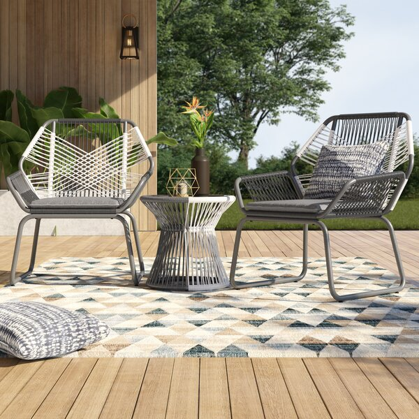 Sophia Outdoor 3 Piece Rattan Seating Group With Cushions By Mercury Row by Mercury Row Modern
