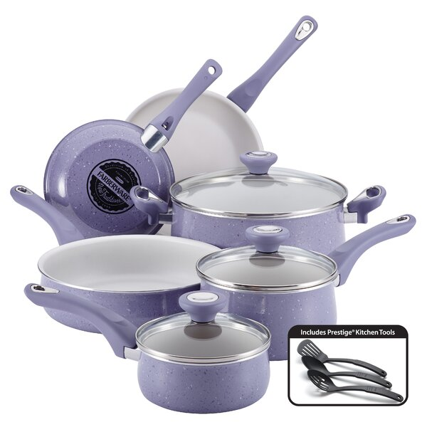 New Traditions 12 Piece Speckled Aluminum Nonstick Cookware Set by Farberware