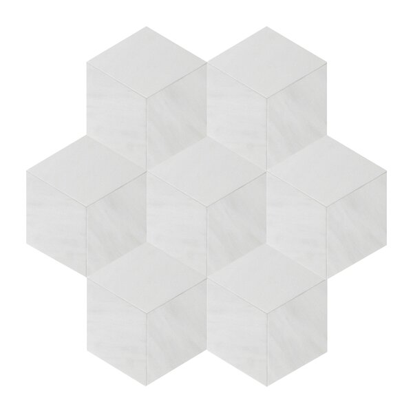 Soft Touch Rhombus 4 x 4 Marble Mosaic Tile in White by Seven Seas