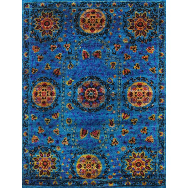 Santa Fe Sari Silk Hand-Knotted Blue Area Rug by Pasargad