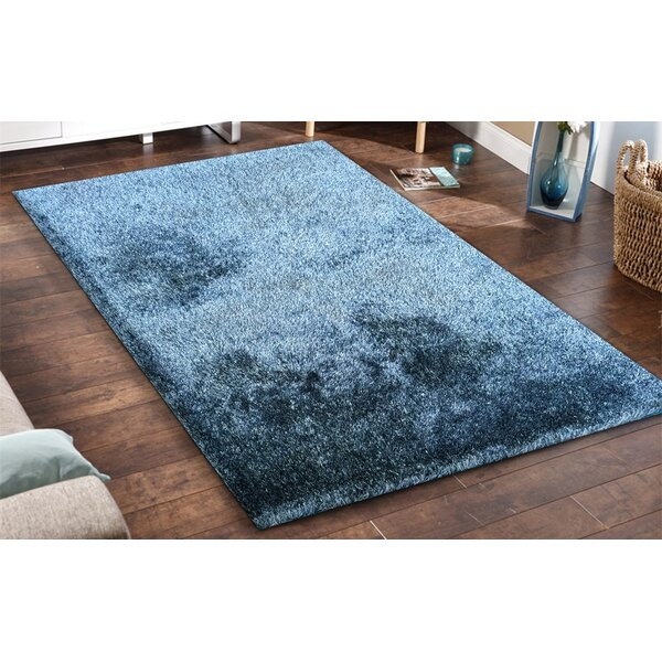 Heineman Solid Touch of Shag Hand-Tufted Blue Area Rug by Latitude Run