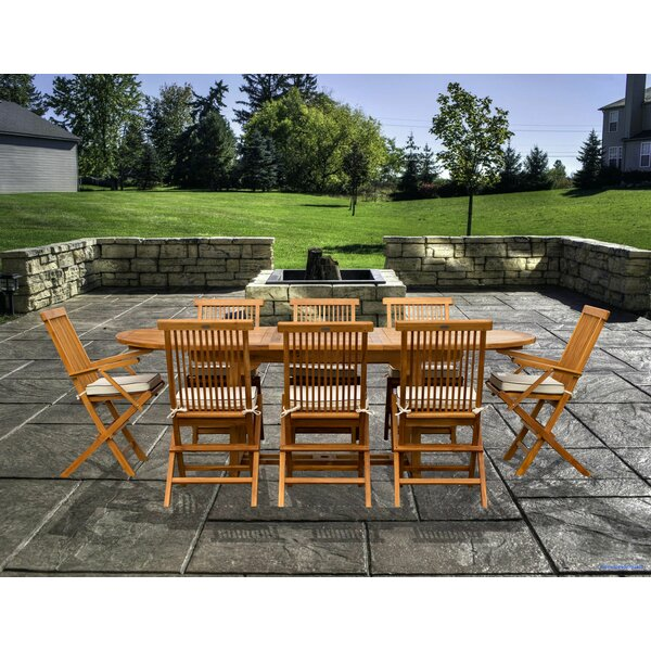 Vela 9 Piece Teak Dining Set with Sunbrella Cushions Bayou Breeze W001922454