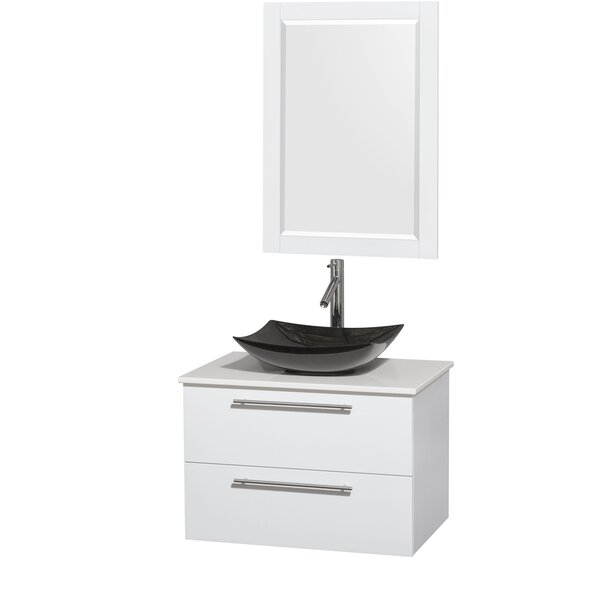 Amare 30 Single White Bathroom Vanity Set with Mirror by Wyndham Collection