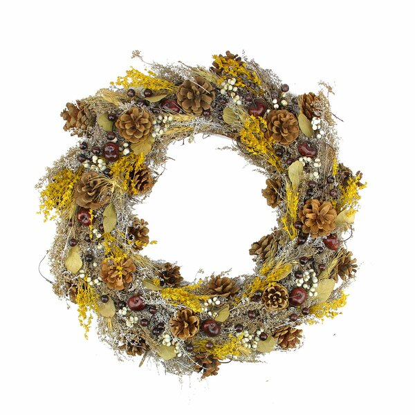 20 Pine Cone and Wheat Artificial Christmas Wreath by Northlight Seasonal