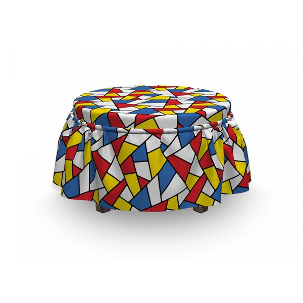 Mosaic Stained Glass 2 Piece Box Cushion Ottoman Slipcover Set By East Urban Home