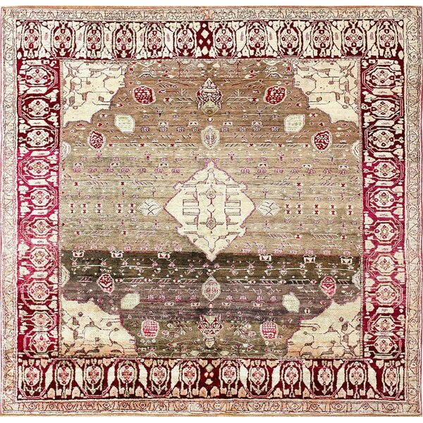 One-of-a-Kind Agra Hand-Knotted 1900s Cream 5'9 x 6' Silk Area Rug