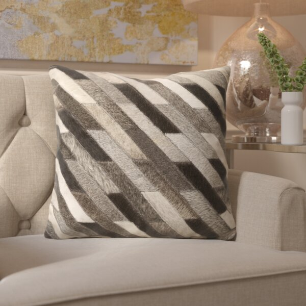 Gertrud Striped Leather Throw Pillow by Willa Arlo Interiors