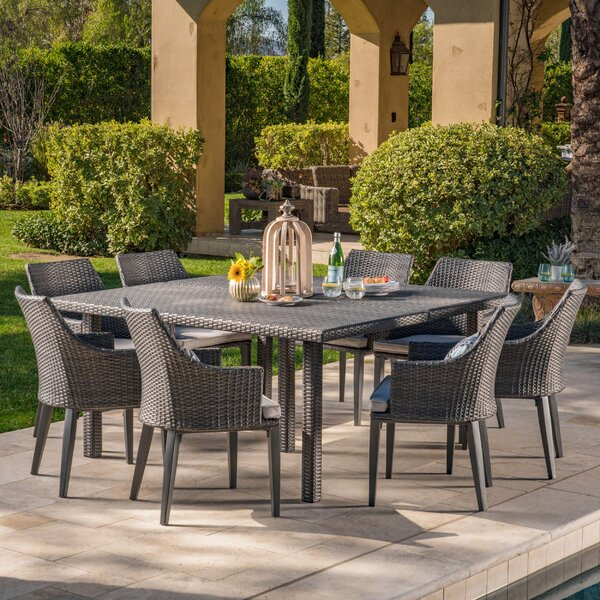 Murdock 9 Piece Dining Set with Cushions by Orren Ellis