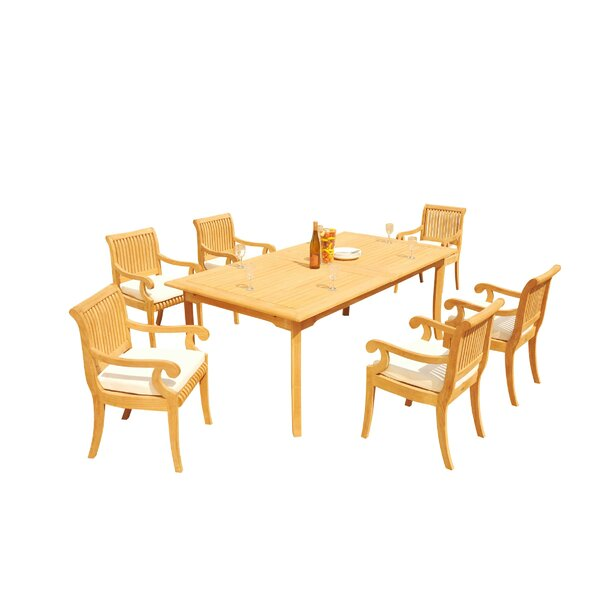 Massenburg 7 Piece Teak Dining Set by Rosecliff Heights