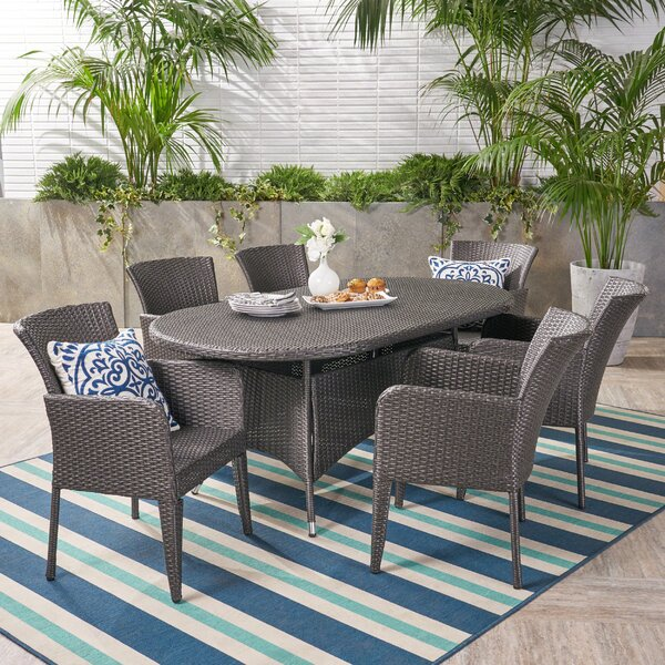 Idaho Falls Outdoor 7 Piece Dining Set by August Grove