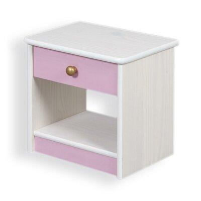 Nachttisch Amber mit Schublade | Schlafzimmer > Nachttische | Rosa - Goldfarben | Hölzer - Lack - Filz | Harriet Bee