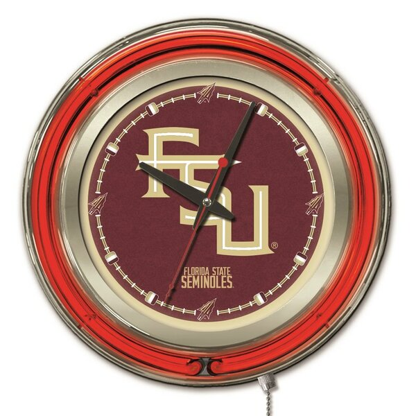 NCAA 15 Double Neon Ring Logo Wall Clock by Holland Bar Stool
