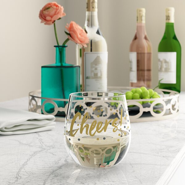 Farmington Cheers Plastic 14 oz. Stemless Wine Glass by House of Hampton