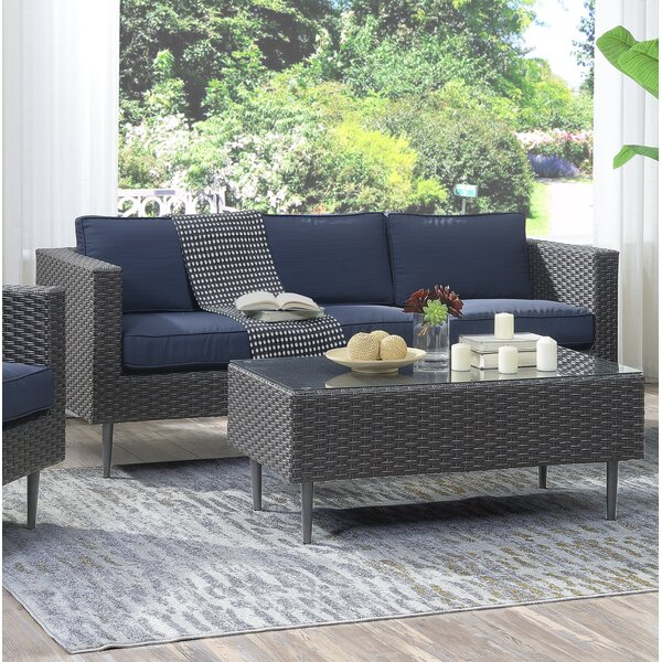 Trevor 2 Piece Rattan Sofa Seating Group with Cushions by Foundstone Foundstone