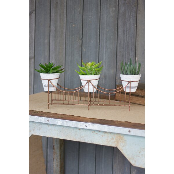 Grimaldo Wire Bridge Washed Clay Pot Planter (Set of 3) by Williston Forge