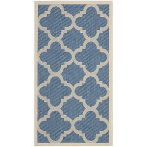 Short Lattice Blue/Beige Indoor/Outdoor Area Rug