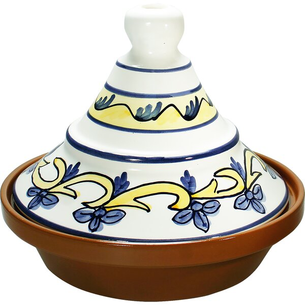 Eurita 2 Qt. Barcelona Hand Painted Terracotta Round Tagine by Reston Lloyd