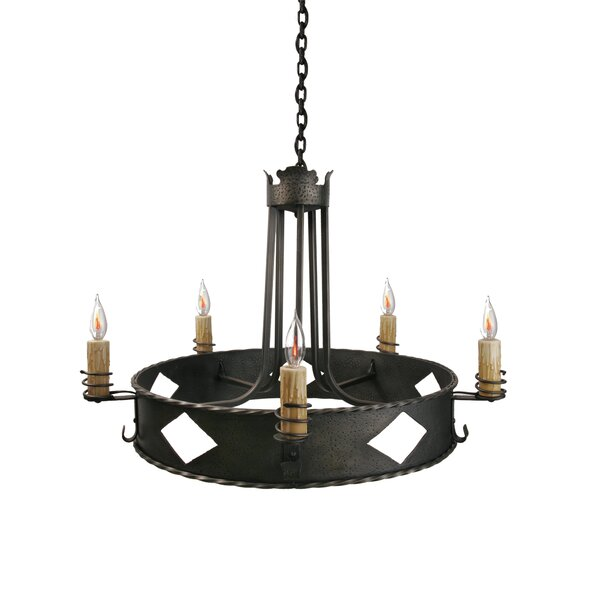 5 - Light Candle Style Wagon Wheel Chandelier By Steel Partners