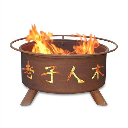 Classic Chinese Symbol Steel Wood Burning Fire Pit by Patina Products