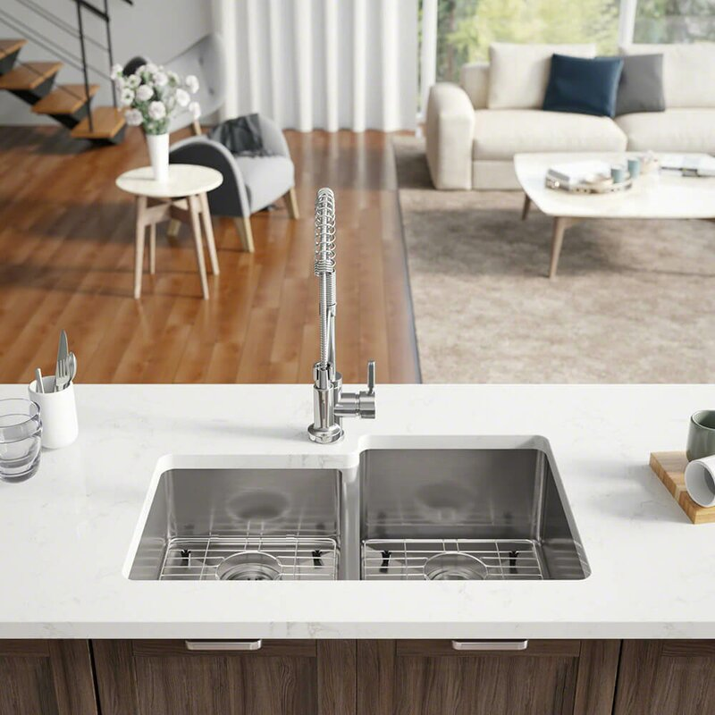 radius stainless steel 31   x 21   double basin undermount kitchen sink with additional accessories ren  byelkay radius stainless steel 31   x 21   double basin      rh   wayfair com