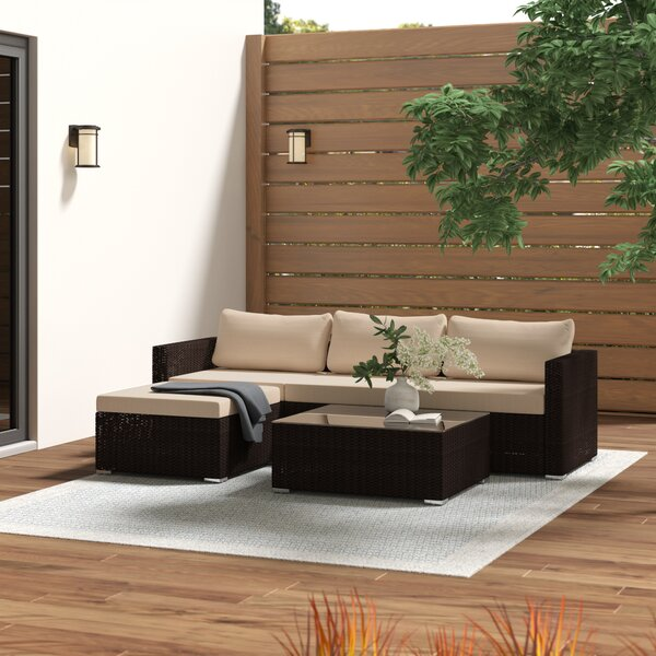 Cabral 5 Piece Sectional Seating Group with Cushions by Sol 72 Outdoor