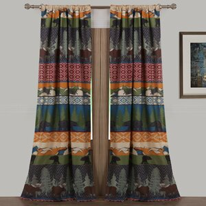 Black Bear Lodge Wildlife Sheer Rod Pocket Curtain Panels (Set of 2)