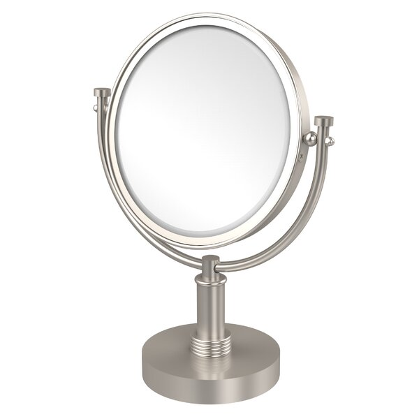 Vanity Top Make-Up Magnification Mirror with Groovy Detail by Allied Brass