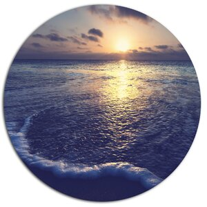 'Tranquil Blue Beach At Sunset' Photographic Print on Metal by Design Art