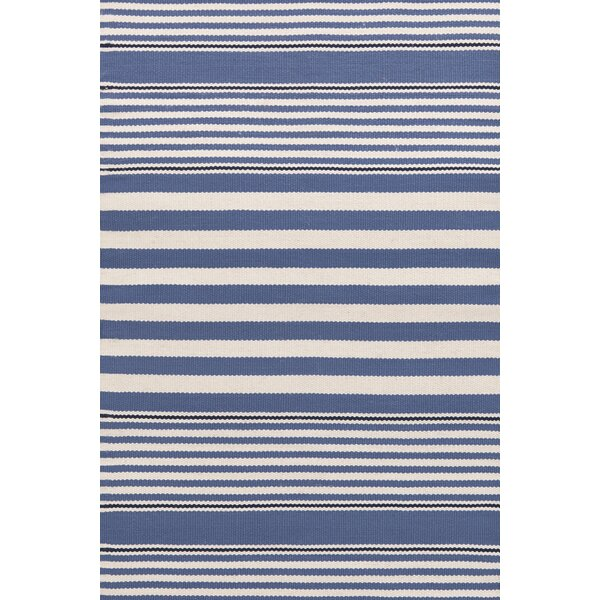 Rugby Stripe Hand Woven Blue Indoor/Outdoor Area Rug by Dash and Albert Rugs