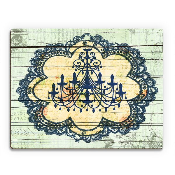 Blue Chandelier Lace Graphic Art on Plaque by Click Wall Art