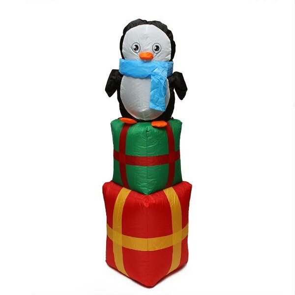 Inflatable Cute Penguin on Gift Boxes Lighted Christmas Yard Art Decoration by Northlight Seasonal