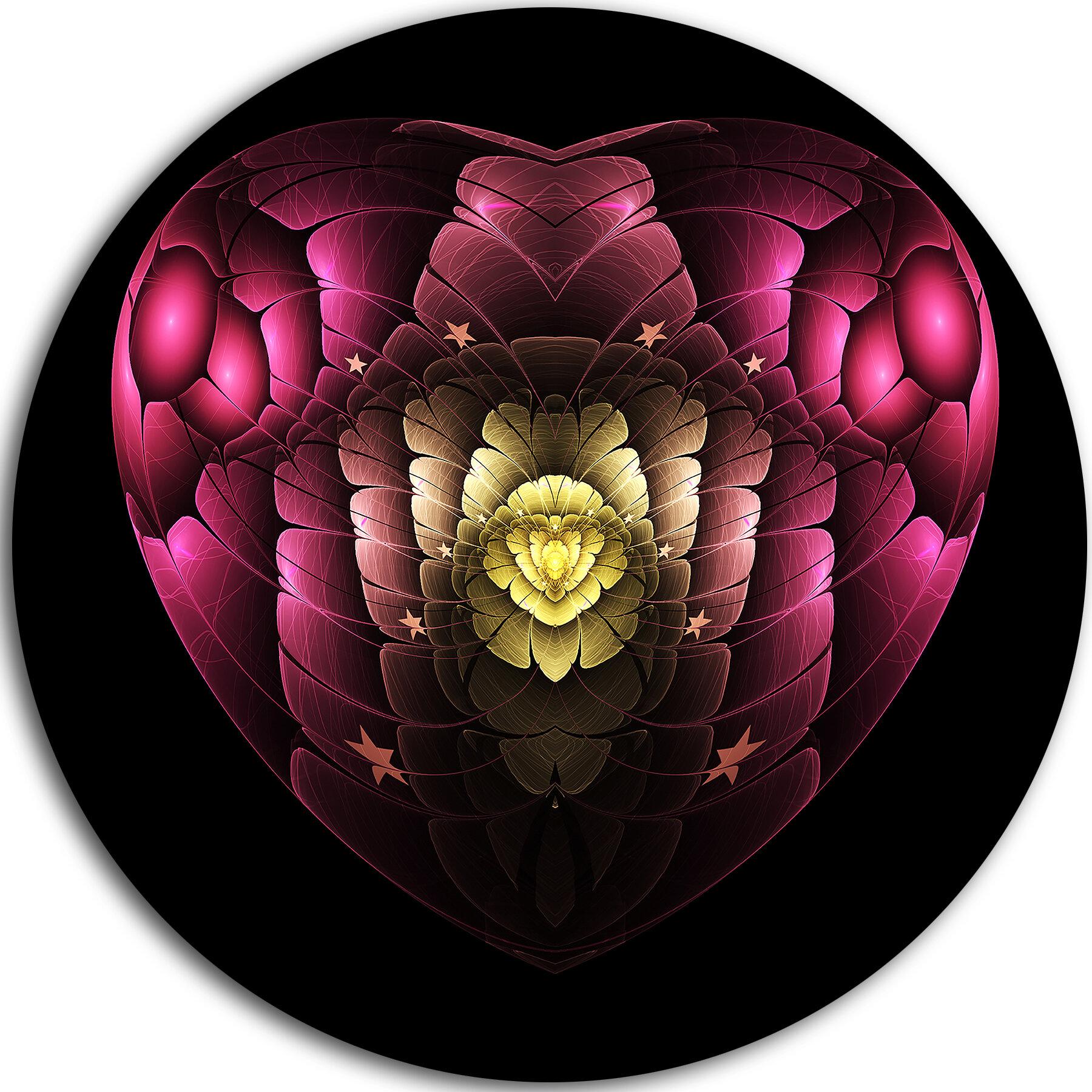 Designart Isolated Heart Digital Art Fractal Flower Graphic Art Print On Metal Wayfair
